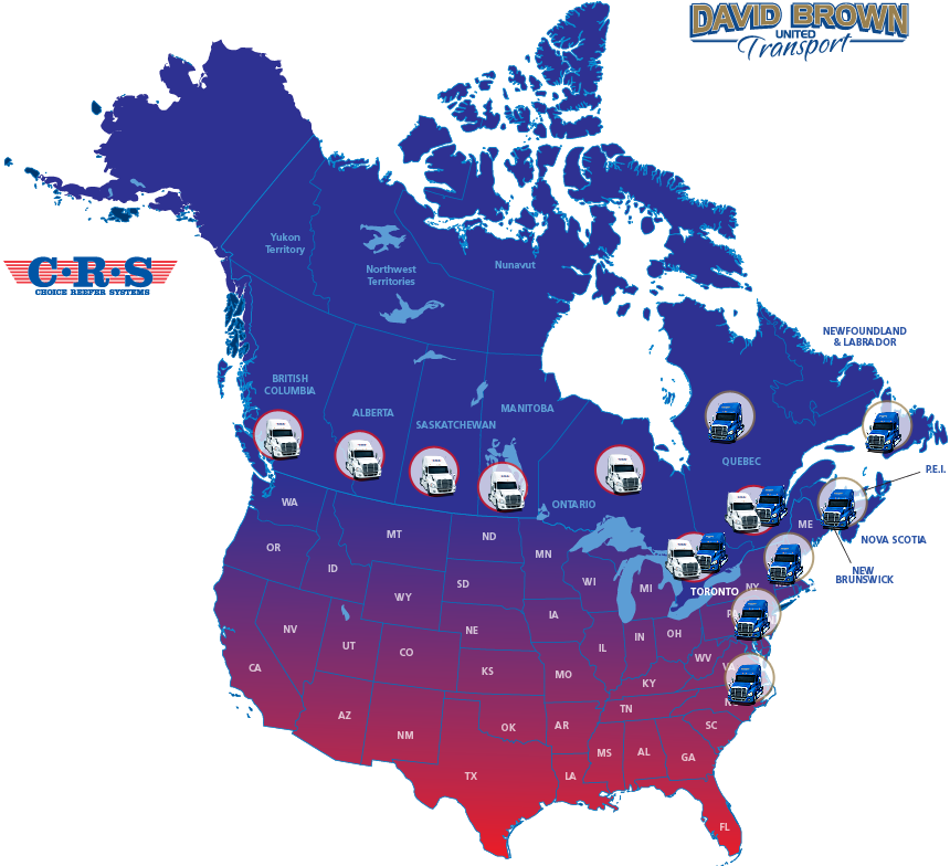 LTL Truckload Canada CRS Choice Reefer Systems Ontario To - Canada and us map